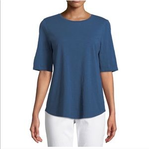 Eileen Fisher organic cotton slub denim blue top M